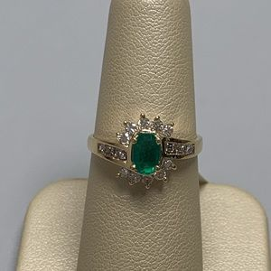 Jewelry - 14K Yellow Gold Emerald and Diamond Ladies Ring